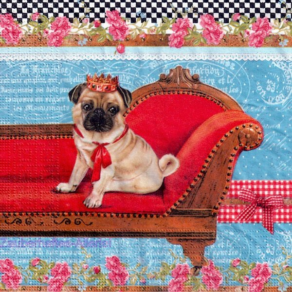 11697 King of pugs - Mops Hund mit Krone